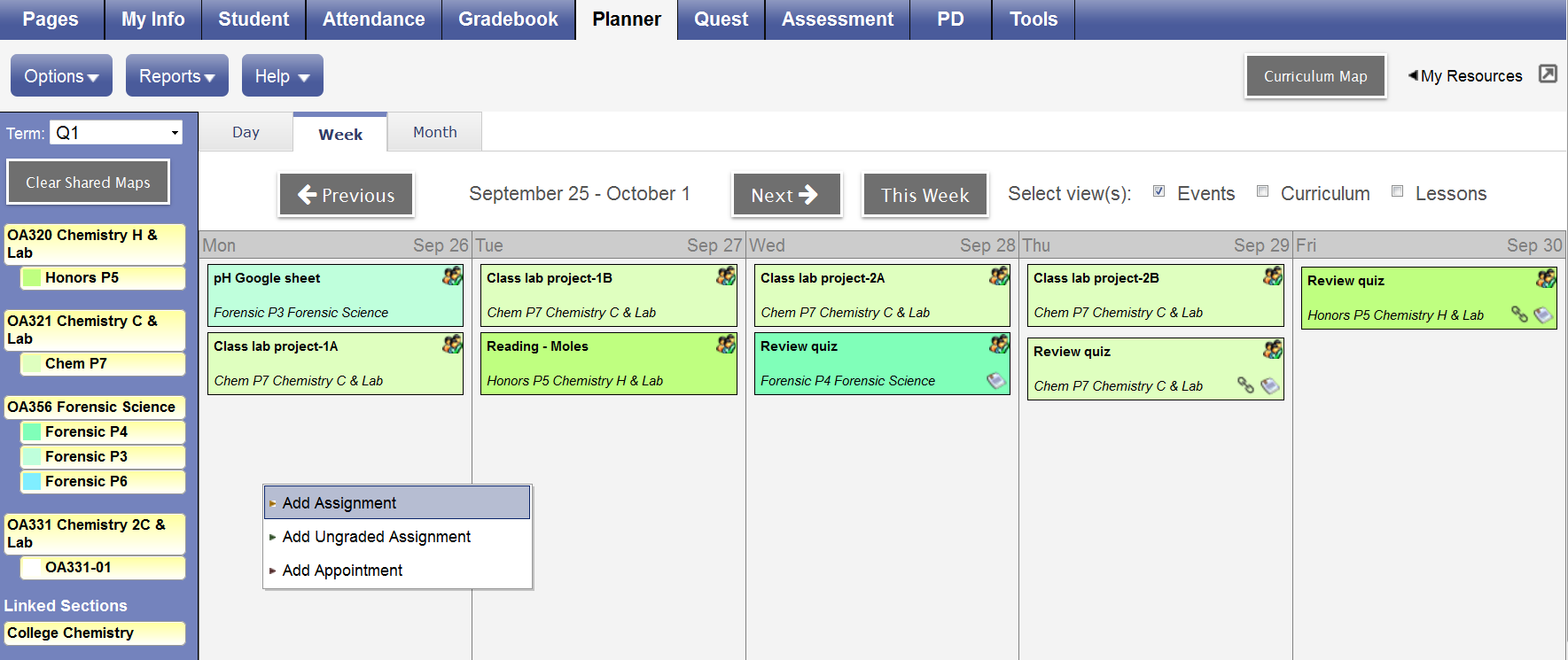 add and edit assignments in the planner